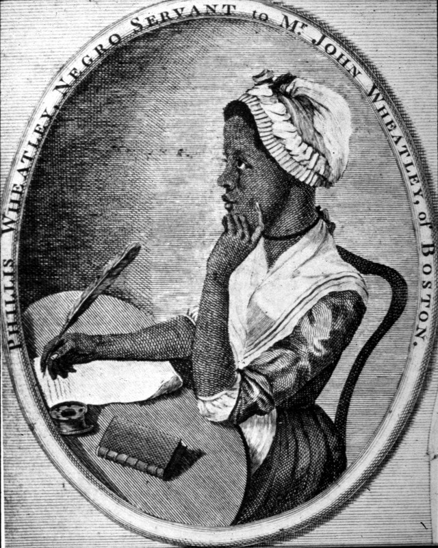This copperplate engraving shows the profile of Phillis Wheatley (c.1753–1784), while she is writing in a book. She was the first African-American woman to publish a book of poetry. Born in the Senegambia region around 1753 she was kidnapped at 7 or 8 years old and taken to Boston. Her purchasers, John and Susanna Wheatley, named her Phillis after the name of the ship that brought her to Massachusetts. Living in their household as a servant, she was permitted to learn to read, and not long after began writing poetry. Her first published poem appeared in 1767 but was published in London largely because of racial prejudice in Boston. She left no account of her life in Africa or the middle passage, and her life ended sadly, at about the age of 31, in Boston in 1784. Her portrait was done when she was about 20 years old. For details on her life and works, see Vincent Carretta, Phillis Wheatley: Biography of a Genius in Bondage (University of Georgia Press, 2011); also, Phillis Wheatley: Complete Writings (Penguin Classics) (Penguin Putnam Inc., 2001).