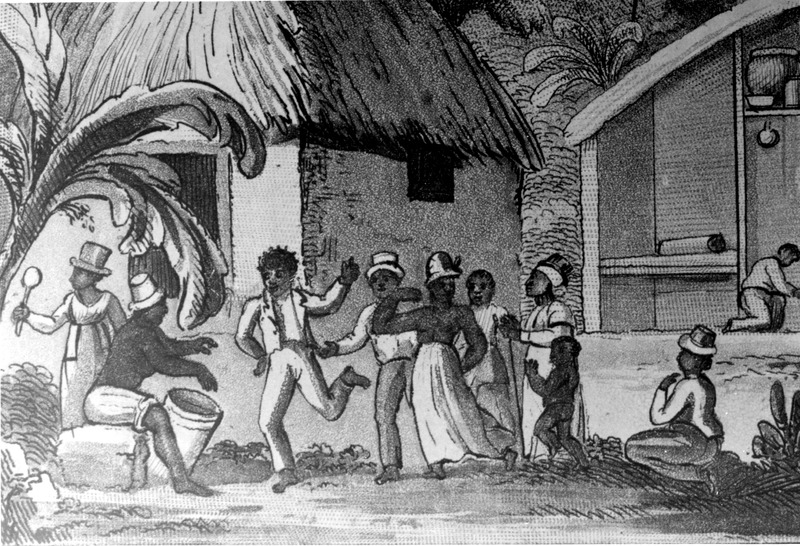 Detail from engraving shown in image reference Waller-1 which gives more information on the source. This detail shows dancers and musicians with the rattle and drum; clapping was also a form of instrumentation. For a discussion of the musical life of the enslaved in Barbados, see J. S. Handler and C. J. Frisbie, Aspects of Slave Life in Barbados: Music and its Cultural Context, Caribbean Studies (Vol. 11, 1972), pp. 5-46.