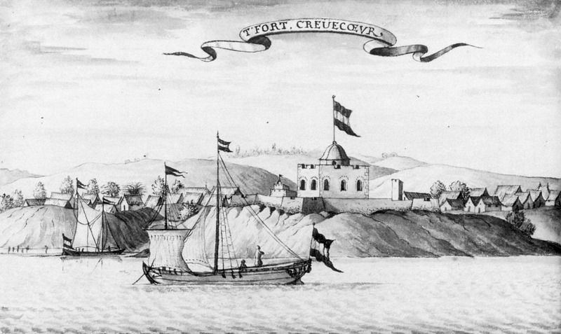 This engraving shows a seaside view of the Dutch slave trading fort, Crèvecœur, which was built in 1649. It is a day's walk from Elmina. The engraving shows the fort from the sea with an African town on the right. The original drawing is from the 1679 manuscript. Jean Barbot (1655-1712) was a French explorer and merchant. Employed by the Compagnie du Senegal, Barbot documented two voyages along the coast of West Africa, then across the Atlantic to the Caribbean in 1678-1679 and 1681-1682.