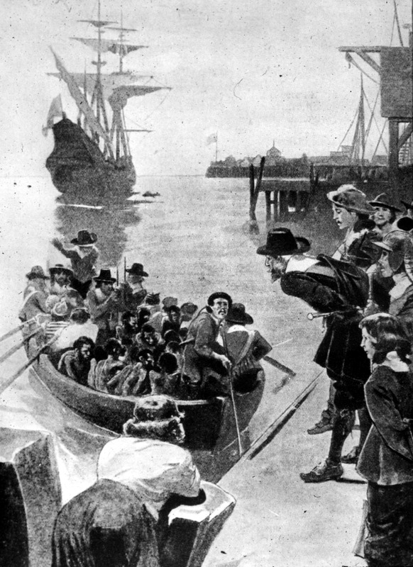 This image depicts a row boat filled with Africans being landed from a slave ship at anchor at an unidentified port in the Americas. Appears to be nineteenth century rendition of a seventeenth century event. Perhaps painted by Howard Pyle (1853-1911), who was an American illustrator and author, primarily for young people. He is credited with creating what has become the modern stereotype of pirate dress.  See images H007 and H009.