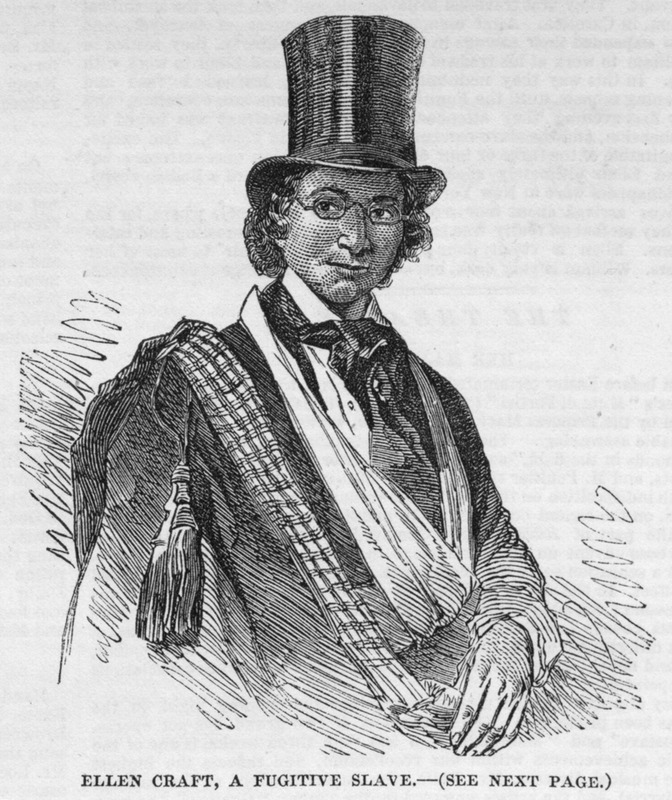 The article accompanying this illustration describes how Ellen and William Craft were reared in Georgia, living near one another but with different owners. William is a black man, but his wife Ellen is nearly white. They were married and in 1848 they escaped with Ellen having cut off her hair and wearing green spectacles disguised herself as a young man, and her husband as her servant. They traveled to Savannah, then took a boat to Charleston (South Carolina) and from there went to Boston where William worked as a cabinet maker and Ellen as a seamstress. They supported themselves and learned how to read and write, but when the Fugitive Slave Law of 1850 came into operation they were hunted. They managed to escape on a ship to New York, and from there took passage on a British ship which arrived in Liverpool about four months before this article was written (p. 316).