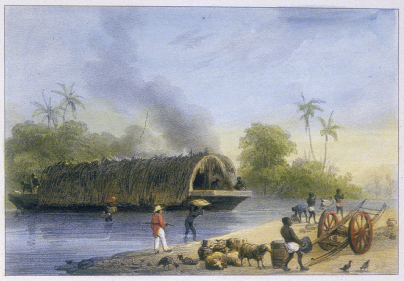 """""""Deck, or Skiff"""" (caption translation). This engraving shows a flat barge covered in a thatched dome crossing a river. On the right, a white overseer observes enslaved people preparing goods to load onto the boat. Benoit explained that """"each plantation along a river has a canoe which is used by the slaves, as well as skiffs which are large flat boats covered with leaves used for work, for the transport of merchandise."""" Pierre Jacques Benoit (1782-1854) was a Belgian artist, who visited the Dutch colony of Suriname on his own initiative for several months in 1831. He stayed in Paramaribo, but visited plantations, maroon communities and indigenous villages inland."""