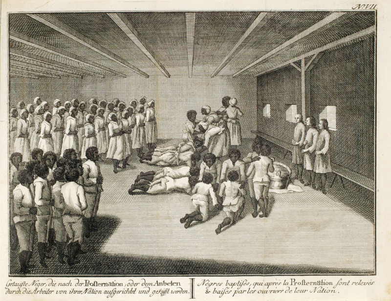 Moravian (United Brethren) congregation of blacks with three white ministers (at right); shows newly baptized slaves prostrating themselves and then being embraced by those who had been previously baptized. Caption is in both German (left) and French (right). The geographical area is not identified in the illustration, but it was St. Thomas (see Jon Sensbach, Rebeccaís Revival [Harvard Univ. Press, 2005], p. 97). See also image reference NW0174.