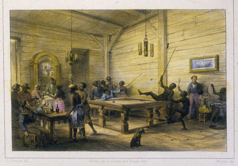 """""""Negros Enjoying Themselves Playing Billiards"""" (caption translation). This engraving shows a pool hall filled with people of colour playing billiards and drinking. Benoit wrote that """"a recreational diversion to which the colonists and above all the Negroes are passionately devoted is playing games, billiards being the most preferred."""" Pierre Jacques Benoit (1782-1854) was a Belgian artist, who visited the Dutch colony of Suriname on his own initiative for several months in 1831. He stayed in Paramaribo, but visited plantations, maroon communities and indigenous villages inland."""