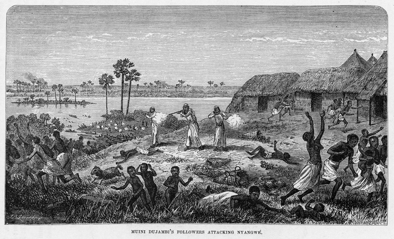 "This image depicts Arab slave traders attacking Nyangwe on the near the Great Lakes and Central Interior regions. Livingstone described this  in July 1871, in which he reports that ""the Arabs themselves estimated the loss of life at between 330 and 400 souls"" (p. 382-384). David Livingstone (1813–1873) was a famous Scottish physician, Christian missionary, explorer and abolitionist. His interest was to locate the source of the Nile River. His missionary work also reinforced the European ""Scramble for Africa"" and the colonization of the continent. This engraving was made from Livingstone's sketches. It is reproduced in Thomas W. Knox, The Boy Travellers on the Congo (New York, 1888), p. 219, where it is captioned Muini Dujambi's Followers Attacking Nyangwè.  Knox's book, in turn, is a condensation of Henry Stanley's famous Through the Dark Continent (New York, 1878), but the Knox publishers took their images from several volumes of African travel exploration (p.2), without citing their sources. See images C014 and knox02."