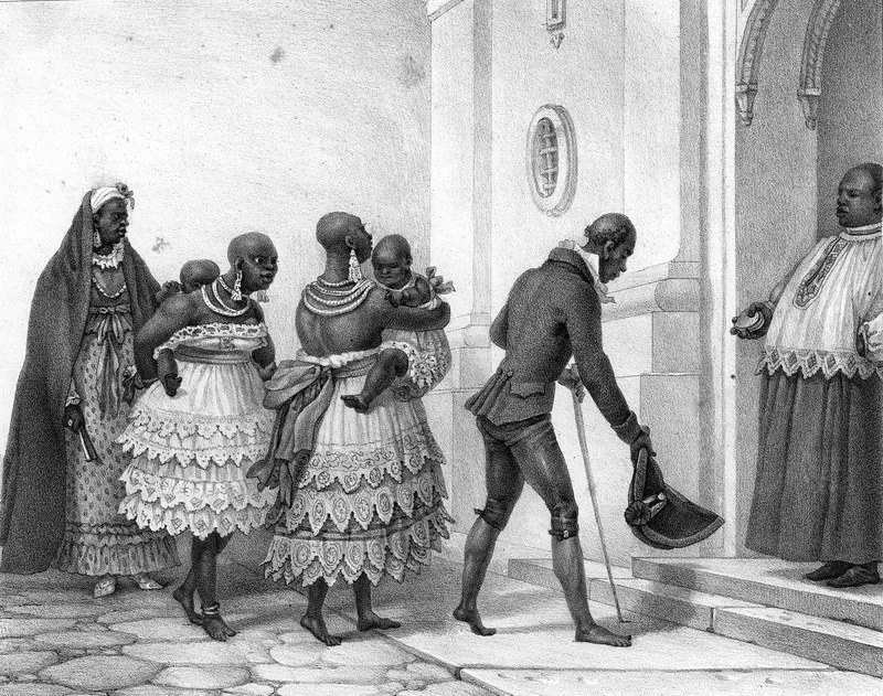 Captioned, Negresses Allant a L'Eglise, Pour Etre Baptisées (black females going to church to be baptized), shows two black mothers (?) elaborately dressed and bejeweled carrying infant girls and approaching the entrance of a church; they are followed by an older woman (the mother of the two women?) and preceded by an older man (the father of the two women?)--all are greeted at the entrance by the mulatto (?) priest or some other Catholic official. The engravings in this book were taken from drawings made by Debret during his residence in Brazil from 1816 to 1831. For watercolors by Debret of scenes in Brazil, some of which were incorporated into his Voyage Pittoresque, see Jean Baptiste Debret, Viagem Pitoresca e Historica ao Brasil (Editora Itatiaia Limitada, Editora da Universidade de Sao Paulo, 1989; a reprint of the 1954 Paris edition, edited by R. De Castro Maya).