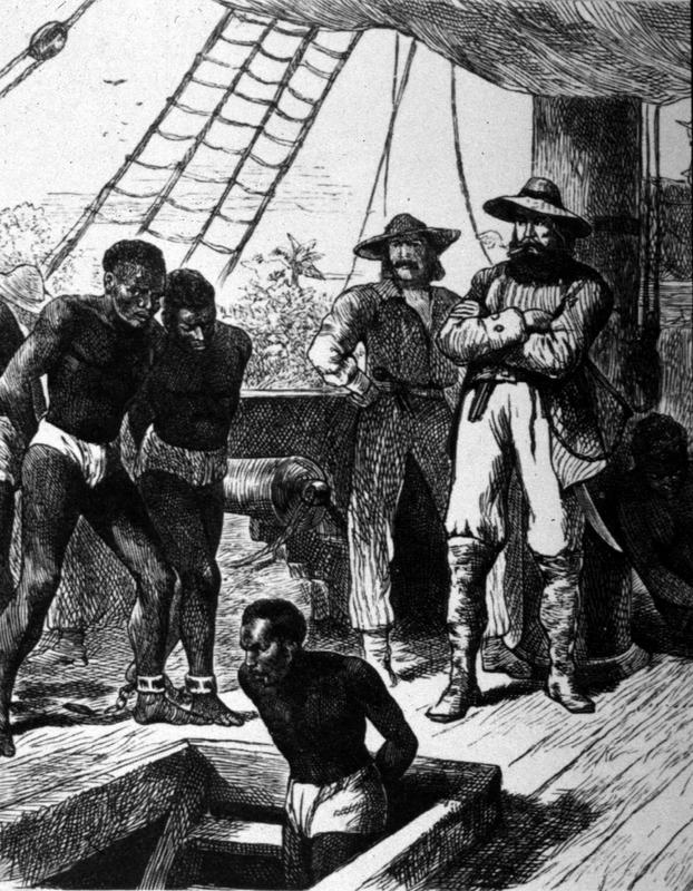 This image depicts enslaved Africans being loaded onto an unidentified slave ship at an unknown place. The image shown here has been cropped from a larger illustration shown, for example, on the Getty Images/Hulton Archive website (image 3324442). The same image appears on the Mary Evans Picture Library (London) website, but with no caption (picture # 10011127). Although the MEPL vaguely cites Cassell's History of England as the primary source, we have been unable to verify the citation in several editions of Cassell's history and the citation may be wrong. The image has also been published in a number of secondary sources and websites, but never with a primary source given. Whatever the case, this illustration appears to be based on an artist's imagination, rather than an eyewitness drawing. The artist might have been Paul Edouard Rischgitz (1828–1909), who was a Swiss draughtsman, landscape painter and etcher.