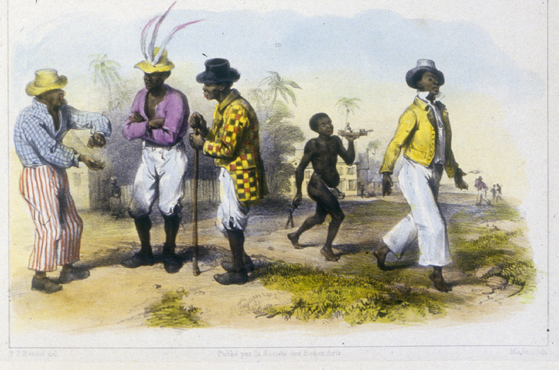 """""""Three Artisan Freed-Negroes Having a Conversation"""" (caption translation). This engraving shows three men in various clothing styles, and a small boy running. Benoit described """"three free black craftsman/artisans are in conversation. On the right a young hairdresser, a creole slave himself, is followed by another slave, a boy, who is carrying various items of his trade: the comb, pomade, and curling tongs."""" Pierre Jacques Benoit (1782-1854) was a Belgian artist, who visited the Dutch colony of Suriname on his own initiative for several months in 1831. He stayed in Paramaribo, but visited plantations, maroon communities and indigenous villages inland."""