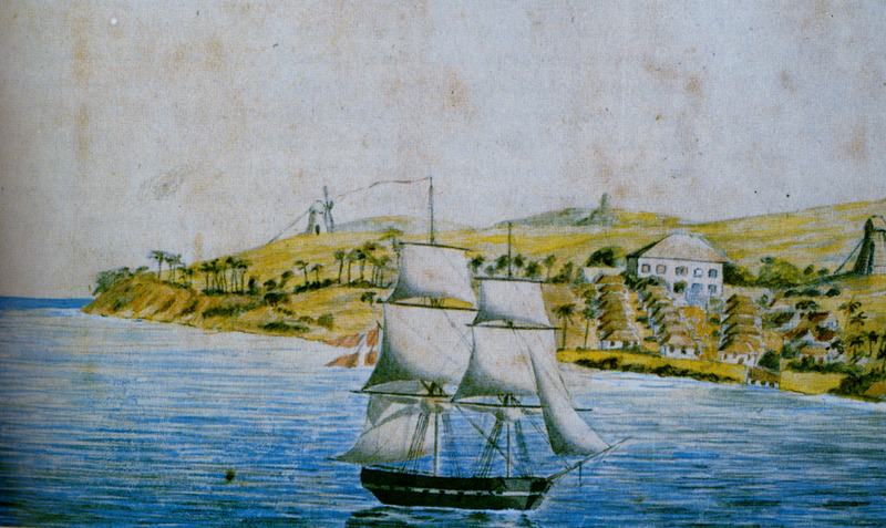 View of Butler's Bay by Frederick von Scholten. A European brig sailing along north coast. View shows sugar plantation with windmills, manor (great) house, and slave houses in foreground. (Thanks to Leif Svalesen and George Tyson for assistance in identifying this item.)