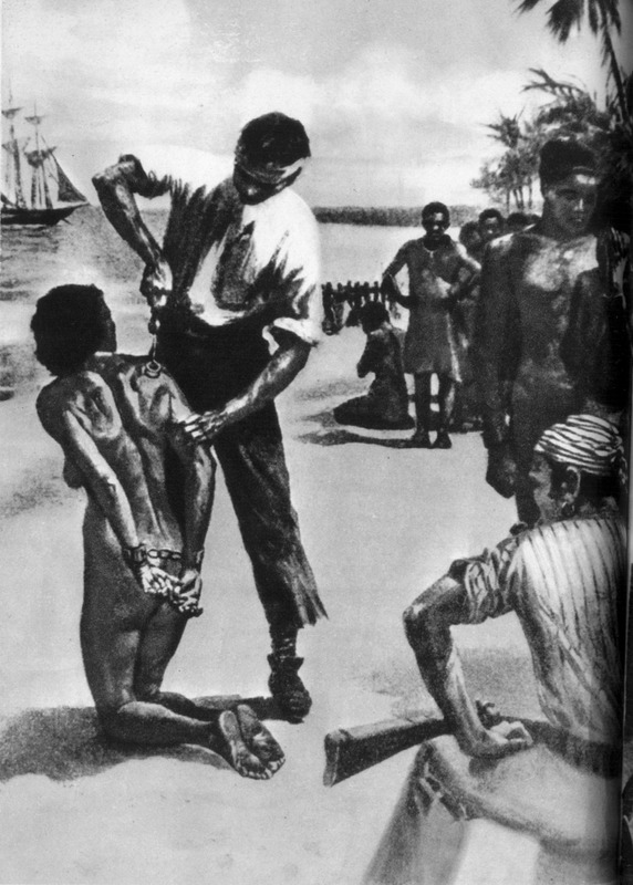 This scene on a beach shows a woman on her knees being branded on her back by a white man with several African and European onlookers with a ship in the background. Neither the location of the scene nor the original source were identified. Perhaps the drawing was done specifically for the Works Project Administration in Virginia. For details on branding, see image H006.