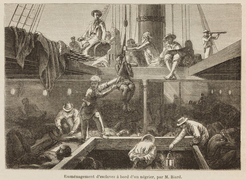 """Moving in slaves on board a slave ship"" (caption translation). This image depicts enslaved Africans being loaded onto a ship. M. Biard traveled to Brazil in the mid-1800s for three or four years."