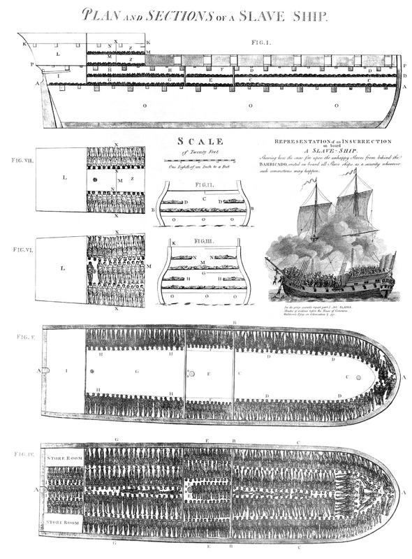 Titled Plan and Sections of a Slave Ship, this detailed and famous drawing shows cross-sections of the ship, and how Africans were stowed in the holds. The inset drawing depicts a revolt aboard a slave ship, showing the crew shooting insurrectionists. Wadstrom includes a very lengthy and detailed description of the Brookes. This was first published in 1789, the proprieters [of the engraving] favoured him with the original plate. The Brookes carried 609 slaves (351 men, 127, women, 90 boys, and 41 girls) crammed into its decks. See also image E014 for more details.