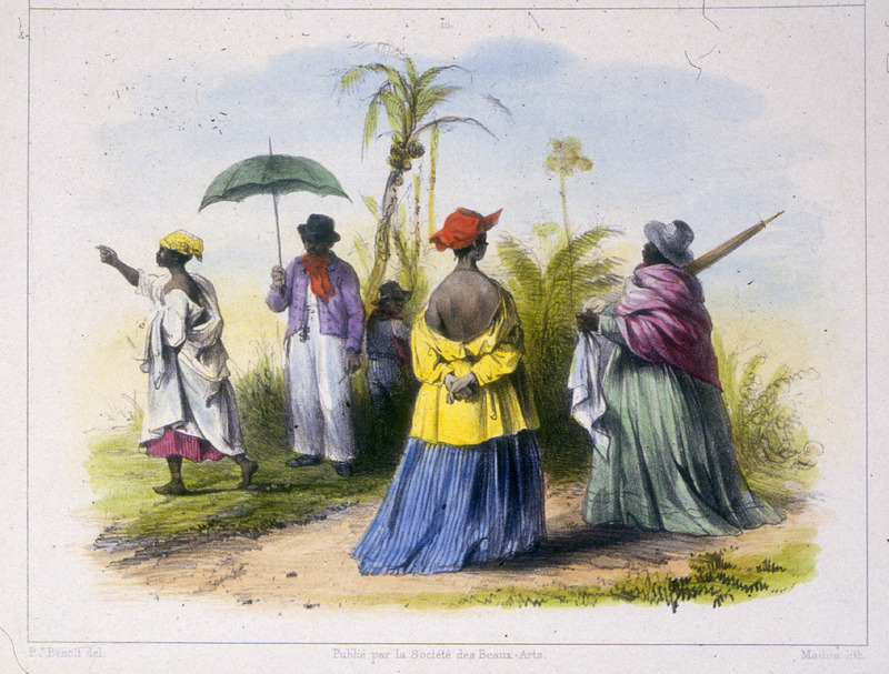 """Creole and Negro Clothing"" (caption translation). This engraving shows three women standing in European clothes, while a man in the back holds an umbrella. On the streets of Paramaribo, Benoit wrote that ""one can encounter a variety of people, wearing different styles of clothing"" (p. 17). Pierre Jacques Benoit (1782-1854) was a Belgian artist, who visited the Dutch colony of Suriname on his own initiative for several months in 1831. He stayed in Paramaribo, but visited plantations, maroon communities and indigenous villages inland."
