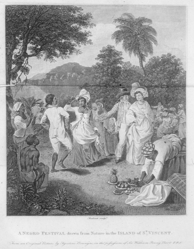 "This image depicts a group of men and women dancing and clothing styles. The caption notes that this engraving was drawn from nature in the island of St. Vincent, from an original picture by Augustino Brunyas, in the possession of Sir William Young; first published in London in 1791 (b/w and colored versions of this print are held by the Barbados Museum). The same print, but titled ""Negro Dance in the island of Dominica"" and dedicated to General Charles O'Hara, was published in the 1794-1800 edition of Bryan Edwards (see a reproduction in Andrew J. O'Shaughnessy, An Empire Divided (University of Pennsylvania Press, 2000), p. 35. According to Lennox Honychurch (see below) this illustration perhaps more accurately represents a party of 'free people of colour' than the slave festival that the term 'Negro' or 'Negre' (synonymous with 'slave') indicated in the eighteenth century. Whatever the source, it has conveyed its misleading message of merriness and contentment of the enslaved for over two hundred years. Honychurch observes that ""although it is described as taking place in St Vincent, this engraving combines scenes produced elsewhere on the islands. In the left hand corner of the picture a drummer and female tambourine player reappear from similar scenes painted in Dominica and St Kitts. A dancing couple performs what may be. . . called 'Belaire' in Trinidad. They too can be observed in at least three of his other paintings of the period. A white sailor or overseer asks a decorous Mulatress to dance or at least gestures towards the dancers."" Agostino Brunias (sometimes incorrectly spelled Brunyas, Brunais), a painter born in Italy in 1730, came to England in 1758 where he became acquainted with William Young. Young had been appointed to a high governmental post in West Indian territories acquired by Britain from France, and in late 1764 Brunias accompanied Young to the Caribbean as his personal artist. Arriving in early 1765, Brunias stayed in the islands until around 1775, when he returned to England (exhibiting some of his paintings in the late 1770s) and visited the continent. He returned to the West Indies in 1784 and remained there until his death on the island of Dominica in 1796. Although Brunias primarily resided in Dominica he also spent time in St. Vincent, and visited other islands, including Barbados, Grenada, St. Kitts, and Tobago. It was during the three years, 1765-1768, that Brunias had his greatest access to the Black Caribs and he did several paintings of Chatoyer during this period. See Lennox Honychurch, Chatoyer's Artist: Agostino Brunias and the Depiction of St Vincent, for what is presently the most informative and balanced discussion of Brunias and his romanticized and idyllic paintings of West Indian scenes and slave life (Jl of the Barbados Museum and Historical Society, vol. 50 [2004], pp.104-128); see also Hans Huth, Agostino Brunias, Romano (The Connoisseur, vol. 51 [Dec. 1962], pp. 265-269). A version of this painting, with some similar figures, is published in Hugh Honour, The Image of the Black in Western Art (Menil Foundation, Harvard University Press, 1989), vol. 4, pt. 1, p.33, fig. 3, titled Scene with Dancing in the West Indies, ca. 1770-80."