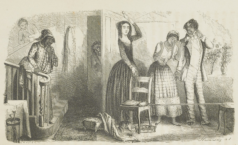 "This engraving illustrates a wedding ceremony called ""jumping the broom,"" which is a custom where the couple jumps over a broom. This idiomatic expression sometimes refers to a ""sham marriage.""  In this illustration, Pearson wrote how ""the white mistress is compelling her enslaved maid, Mina, to marry in a manner that Mina did not recognize as a proper wedding. The mistress exclaims that if Mina had been willing and obedient she would have made you a pretty wedding in the parlor, and would have called the clergyman in"" (pp. 169-170). This passage is from an anti-slavery novel by a Congregationalist author. A native of Connecticut, Pearson had worked as a governess for about a year, 1841-1842, on a slave plantation, Mt. Airy, in Virginia. This experience very much informed her later abolitionist views. For details on the author, see Catherine E. Saunders, Emily Clemens Pearson, 1818-1900, Legacy: A Journal of American Women Writers, vol. 29 (2012). A major study of slavery at Mt. Airy was produced by Richard Dunn, A Tale of Two Plantations: Slave Life and Labor in Jamaica and Virginia (Harvard University Press, 2014)."