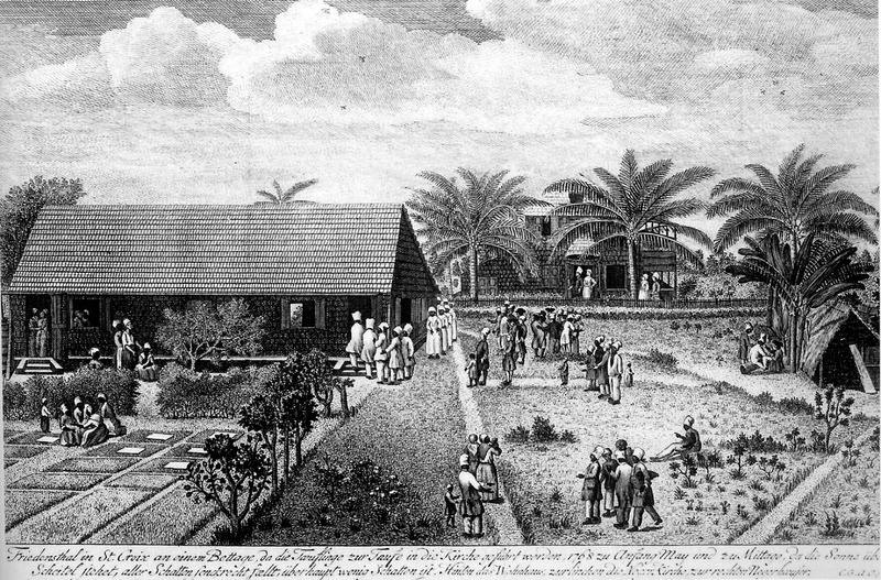 Caption, Friedensthal on St. Croix on a Prayer Day. Woodcut engraving of the Moravian Mission Station at Friedensthal, St. Croix. The church is to the left, the living quarters of the missionaries in the background; a Negro hut is shown on the right. Black congregants are seen entering the mission for a religious service. Oldendorp was in the West Indies in 1767-1769. For a modern edition that is copiously indexed, edited by J. J. Bossard and translated into English by A. R. Highfield and V. Barac, see C.G.A. Oldendorp's History of the mission of the evangelical brethren on the Caribbean islands of St. Thomas, St. Croix, and St. John (Karoma Publishers, Ann Arbor, Michigan, 1987).