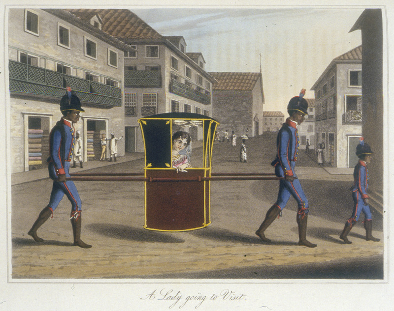 Caption, A lady going to visit. The Brazilian scholar, Gilberto Freyre writes: Within their hammocks and palanquins the gentry permitted themselves to be carried about by Negroes for whole days at a time, some of them travelling in this manner from one plantation to another, while others employed this mode of transport in the streets; when acquaintenances met, it was the custom to draw up alongside one another and hold a conversation (The Masters and the Slaves [New York, 1956], pp. 409-410, 428). (In the 2nd ed. [London, 1817], all images are in b/w.)