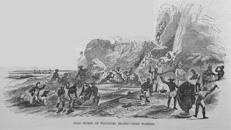 "This engraving depicts a group of enslaved men and woman mining in Brazil near Ouro Preto. According to the accompanying text, ""to the left a party of slaves is catching the gold dust by immersing fleeces in the running water; on the right, two other slaves are beating out the dust from a fleece into a large wooden dish placed on the ground to receive it; behind them a European is weighing the gold dust in scales, and men and women are seen bringing down pieces of quartz containing gold to be broken up by others"" (p. 208)."