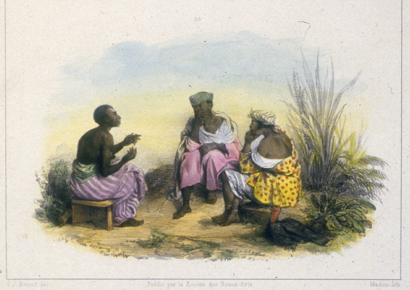 """Negro women doing the Takie-Takie"" (caption translation). Three enslaved women dressed in every day clothing engaged in conversation in Takie-Takie, which Benoit referred to as a language and is likely Sranan. This language combines grammatical elements of English, West African and indigenous American languages with vocabulary elements mainly of English and Dutch origin. Pierre Jacques Benoit (1782-1854) was a Belgian artist, who visited the Dutch colony of Suriname on his own initiative for several months in 1831. He stayed in Paramaribo, but visited plantations, maroon communities and indigenous villages inland."