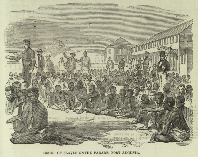 Caption, Group of slaves on the parade at Fort Augusta, shows liberated Africans being held at Port Royal, Jamaica. This is one of a group of five illustrations that accompany a letter to the editor describing the capture by the British Navy of a slave ship, the Zeldina, blown off course near the coast of Cuba. Dated Kingston, Jamaica, May 11, 1857, the letter includes excerpts from two Jamaican newspapers; these provide details on the capture and the condition of the Africans on board. The engravings shown here were made from photographs sent by the writer to the Illustrated London News. In brief, these accounts relate how in April a British naval vessel captured the slave ship and brought it to Port Royal. On board were the 370 survivors of the approximately 500 Africans who had been boarded in Cabinda (Angola) approximately 46 days earlier. A contemporary newspaper describes their condition as follows: The poor captives were in a wretched condition--all of them naked; and the greater part seemed to have been half starved. They were packed closely together, and covered with dirt and vermin . . . . The slave-schooner had two decks and between them the captives were packed in such a manner that they had scarcely room to move. During each day of the voyage they sat in a painful posture, 18 inches only being allowed for each to turn in . . . in a deck room of 30 feet in length . . . [they were] brought up in platoons once every day to get a small portion of fresh air . .  (ILN, pp. 595-596). Thanks to David Eltis for providing the name of the slave ship.