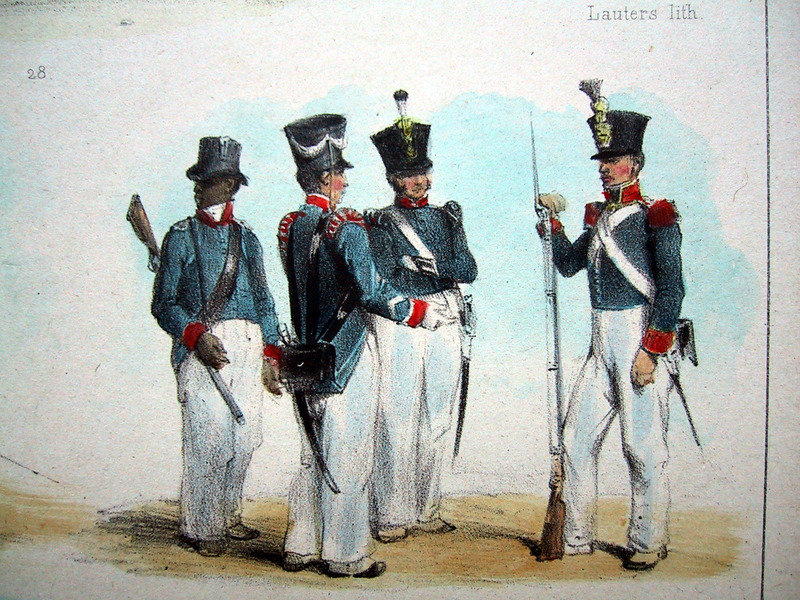 """A Police Agent, Two Bastions or Slave Supervisors, and a Government Slave"" (caption translation). This engraving shows a group of soldiers, one of whom is black, standing around armed with muskets. These soldiers of the Dutch garrison included ""one in the company composed of free people of color."" Pierre Jacques Benoit (1782-1854) was a Belgian artist, who visited the Dutch colony of Suriname on his own initiative for several months in 1831. He stayed in Paramaribo, but visited plantations, maroon communities and indigenous villages inland."