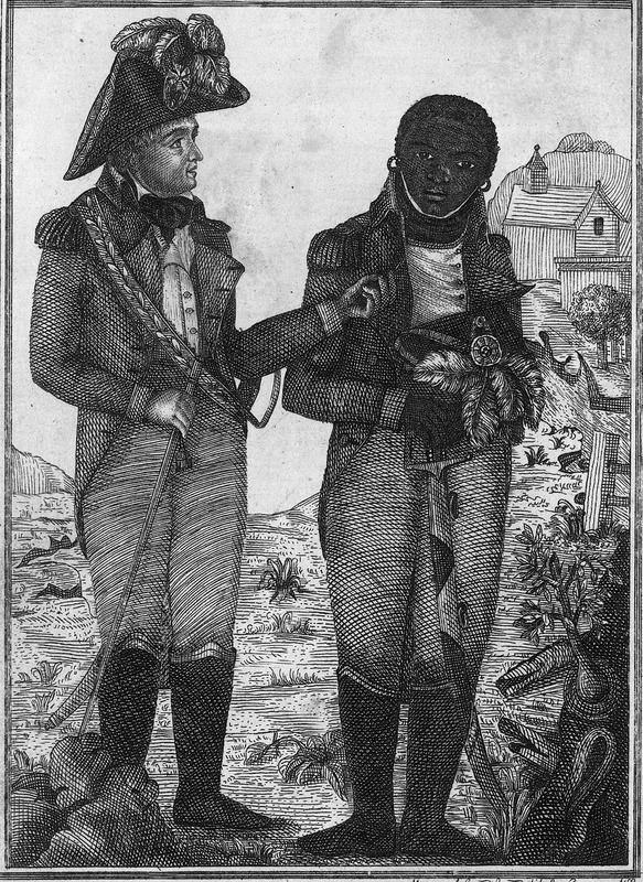 Caption, El cuidad[a]no. Heudoville habla al mentor delos Negros sobre las malas resultas de su revelion (Citizen Heudoville speaks to the leader of the Negros about the bad results of his rebellion). This illustration is a portrait of General Thomas Heudoville, with a black man in an officer's uniform, probably meant to be Toussaint Louverture. (No known eye-witness portraits of Toussaint exist; see other images of Toussaint on this website.) Heudoville was sent by the French revolutionary government as its agent in St. Domingue. He arrived in March 1798. Charged with taking control of the colony, he came into conflict with Toussaint who suspected him of being sympathetic to pro-slavery forces in France. Toussaint isolated the general who was expelled from the colony; before leaving, however, he was able to encourage Toussaint's chief rival, Rigaud, helping to start a civil war (see Laurent Dubois, Avengers of the New World: the story of the Haitian revolution [Harvard Univ. Press, 2004], pp. 217-223).