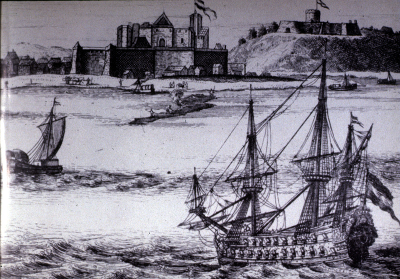 This image of the Voltaic region shows Elmina and another fort from the sea with European shipping in the foreground.