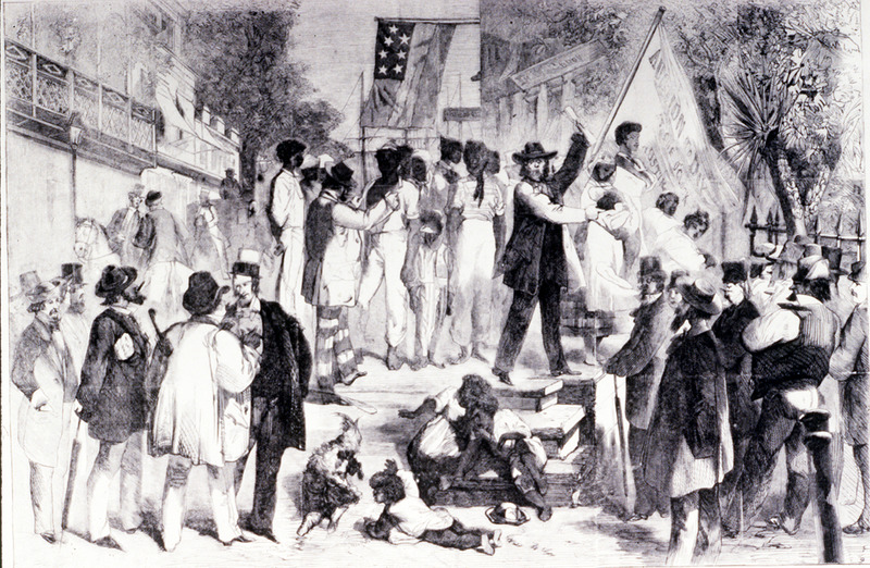 """This image shows enslaved people being sold to white onlookers. According to the source, this sketch was drawn by Mr. Davis, """"who witnessed the scene shown in this drawing."""" Accompanying Davis was W. H. Russell, a correspondent for the London Times who gave a detailed description of the slave auctions he viewed while traveling through the South. The location is not identified in the article, but it was sent from Montgomery, Alabama (see vol. 5, p. 447)."""