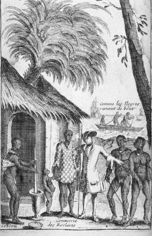 This image shows woman pounding corn with mortar and pestle in front of a thatched house (coscou). On the right, a European was buying two African men with leg irons (commerce des esclaves). In the background, European ships and a canoe with paddlers standing up (comme les Negres rament de bout). The 1699 Amsterdam edition contains a similar, albeit derivative copy, of this image (facing p. 16).
