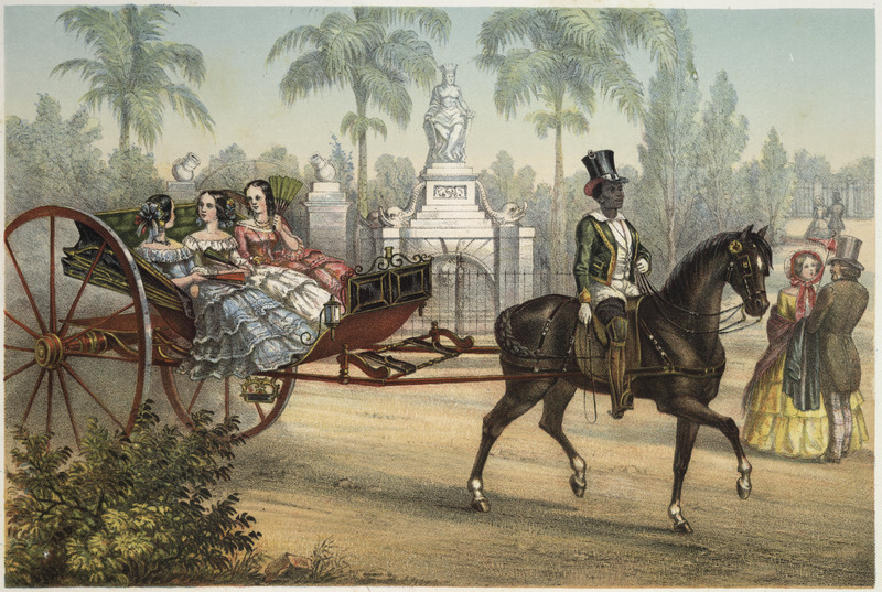 """Trap"" (caption translation). This lithograph shows a horse trap or carriage driven by a black man in a top hat transporting two well-dressed white women in Havana. Frédéric Mialhe (1810-c. 1861), also Federico Mialhe, who was a French landscape painter and draughtsman. He went to Cuba by invitation of the Real Sociedad Patriótica. He designed three sets of lithographs showing Cuba from 1838 to 1854. The publisher, Bernardo May, claimed ownership of this image and sold them under his own name. See image LCP-15."