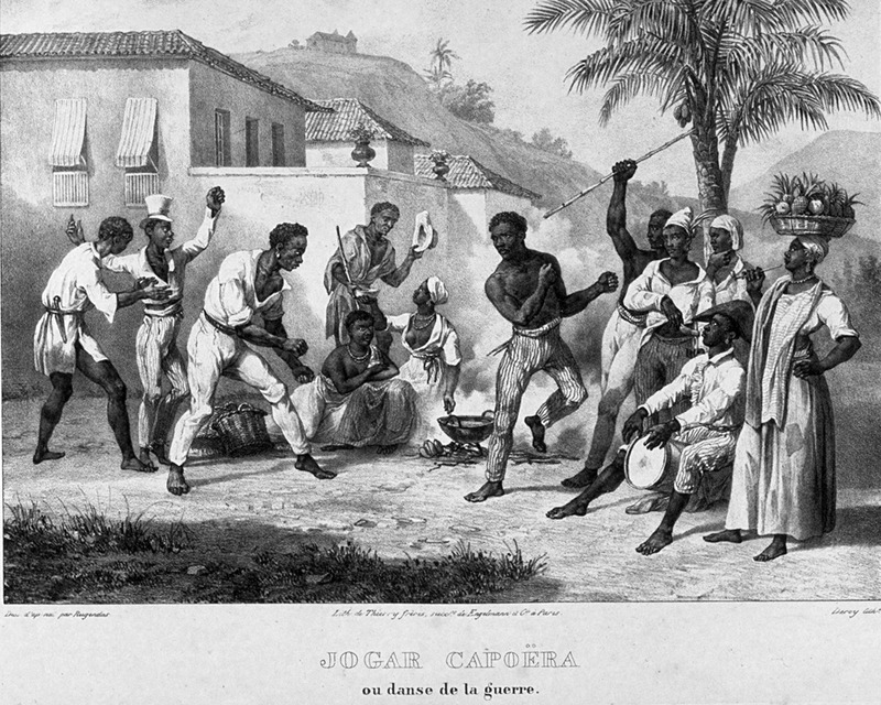 Caption, jogar capoera ou danse de la guerre (capoeira play or war dance); men and women onlookers; drummer on right. Capoeira is a Brazilian martial arts-dance form whose origins are obscure: it may have originated in Africa or in the slave quarters of Brazilian plantations. In any case, it is a uniquely Brazilian practice, and the term can signify an individual who engages in the athletic pastime of the same name, in which the participant armed with a razor or a knife, with rapid and characteristic gestures goes through the motion of criminal acts (translators note in Gilberto Freyre, The Masters and the Slaves [New York, 1956], p. 48, note 120). A more recent view and detailed analysis stresses The capoeiras organized public contests for entertainment. They played capoeira in military and religious processions and scorned and derided public officials. Their performance was accompanied by music, dance, and interaction with the spectators. Although public officials attempted to brand the capoeiras as dangerous and violent hoodlums,the masses admired and respected the performers (Maya Talmon-Chvaicer, The Criminalization of Capoeira in Nineteenth-Century Brazil, Hispanic American Historical Review, vol. 8 (2002), p. 525). For an analysis of Rugendas' drawings, as these were informed by his anti-slavery views, see Robert W. Slenes, African Abrahams, Lucretias and Men of Sorrows: Allegory and Allusion in the Brazilian Anti-slavery Lithographs (1827-1835) of Johann Moritz Rugendas (Slavery & Abolition, vol. 23 [2002], pp. 147-168).