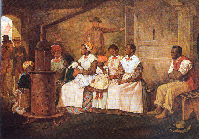 Shows enslaved man, several women and children; clothing styles depicted. The English artist Eyre Crowe observed this scene while on a trip through the South (see other images of slave sales in Richmond on this website).