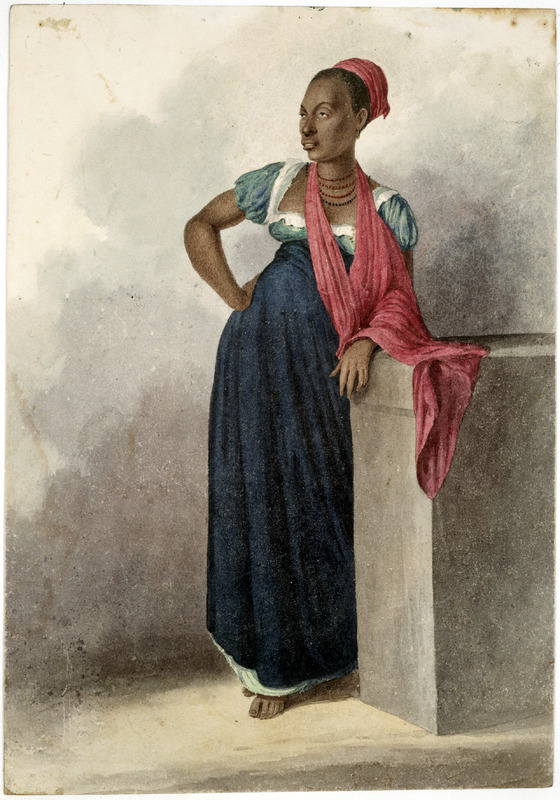 Water color on paper titled Rita, a celebrated black beauty at Rio de Janeiro. Rita may have been a free woman of color. Augustus Earle, a widely travelled English painter, lived in Rio from early 1820 to early 1824, with occasional trips to Chile and Peru during that period.