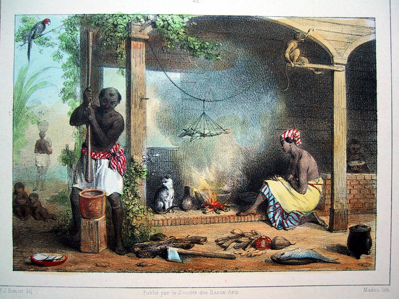 """""""Kitchen Interior"""" (caption translation). This engraving shows a man pounding a mortar, while a woman sits in front of a fire. Benoit described how """"the kitchen is located about 15 or 20 steps behind the master's house, and is furnished with all the necessary utensils as well as an oven to bake bread"""" (p. 30). Pierre Jacques Benoit (1782-1854) was a Belgian artist, who visited the Dutch colony of Suriname on his own initiative for several months in 1831. He stayed in Paramaribo, but visited plantations, maroon communities and indigenous villages inland."""