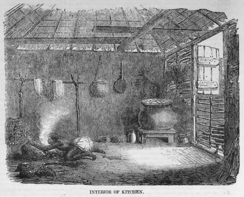 A kitchen is a most important appendage to the domestic establishment of the Africans (p. 436). The kitchen, described in detail on p. 436, is constructed of wattle-and-daub. Utensils include iron pots, stones on which the pots rest, bellows, pottery, basketry; poultry are also shown. See also illustration Exterior of Kitchen, Sierra Leone, image reference ILN435b.