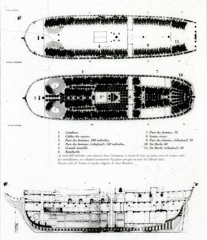 Artist's reconstruction of decks aboard L'Aurore, which sailed from La Rochelle, France, in 1784, acquired about 500 Africans at Malembo in the Kwanza North region; and sailed to Saint Domingue. The illustration shows the tight packing of captives and storage areas. The naval architect, Jean Boudriot (1921-2015), extensively researched naval artilleries from 1650 to 1850.  Although these are not historical images, they accurately represent the conditions on board slave ships.