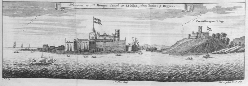 This engraving depicts Europeans and Africans trade enslaved people at St. George's Castle and Fort Conradsburg (Coenraadsburg). Elmina was called St. George d'el Mina, while the smaller fort on the right is St. Jago, also known as Coenraadsburg. Thomas Astley (d. 1759) was a British bookseller and publisher who never went to Africa. His imagined localities and illustrations of Africa were informed by a library of travel books at his disposal.