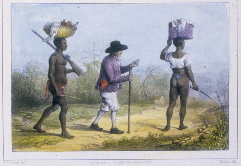 """""""Planters Are Going to a Neighbouring Pantation"""" (caption translation). The engraving shows a planter accompanied by two slaves going to a nearby plantation. Benoit explained that """"planters who visit from one plantation to another have themselves followed and preceded by two slaves who carry their provisions and arms."""" The slaves carry cutlasses and one carries the planter's rifle. Pierre Jacques Benoit (1782-1854) was a Belgian artist, who visited the Dutch colony of Suriname on his own initiative for several months in 1831. He stayed in Paramaribo, but visited plantations, maroon communities and indigenous villages inland."""