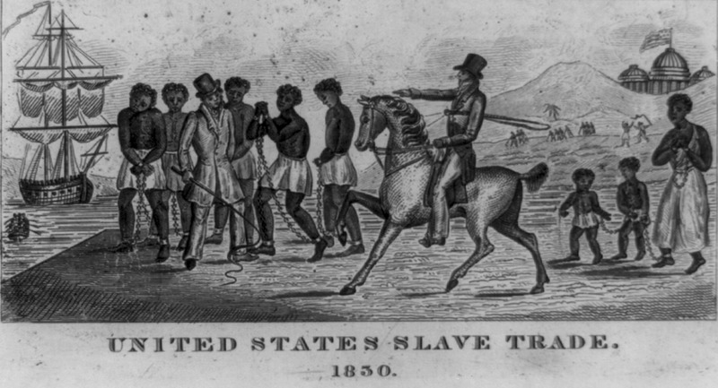 An engraving, captioned United States Slave Trade. 1830 which shows slaves in shackles, whites holding whips; capital dome in Washington, D.C. is in background. The Library of Congress notes for this illustration indicate it was an abolitionist print, possibly engraved in 1830; more details on its origin are also given in the Prints and Photographs Online Catalog.