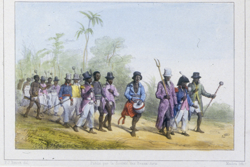 """""""The March"""" (caption translation). This engraving shows a procession of maroons. Benoit described this march as """"a delegation, led by the granman. To his left is the major fiscal and to his right, the under captain granman; following the three leaders are the captains of all the villages"""" (p. 59). Pierre Jacques Benoit (1782-1854) was a Belgian artist, who visited the Dutch colony of Suriname on his own initiative for several months in 1831. He stayed in Paramaribo, but visited plantations, maroon communities and indigenous villages inland."""