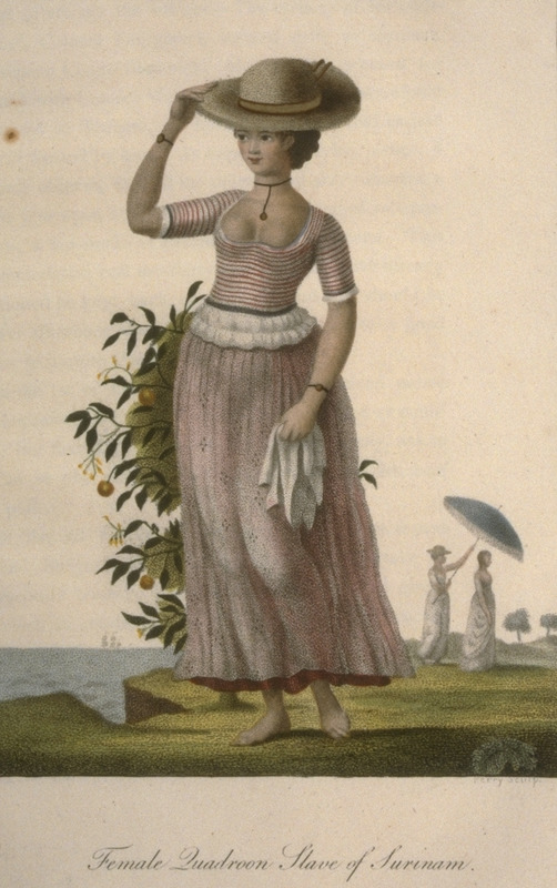 Caption: Female Quadroon Slave of Surinam. Dress of the woman suggests a house servant or some other domestic employment. This and other engravings are found in the autobiographical narrative of Stedman, a young Dutchman who joined a military force against rebellions of the enslaved in the Dutch colony. The engravings are based on Stedmanís own drawings and were done by professional engravers. For the definitive modern edition of the original 1790 Stedman manuscript, which includes this and other illustrations see Richard and Sally Price, eds. Narrative of a five years expedition against the revolted Negroes of Surinam (Baltimore: Johns Hopkins University Press, 1988).