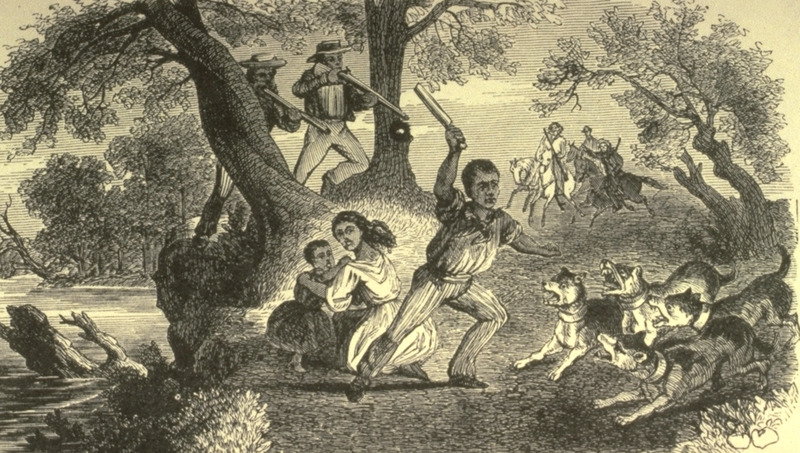 Comments on the use of bloodhounds to track fugitive slaves are given on pp. 292-93 of this abolitionist book. This illustration seems to be based on an illustration in Henry Bibb, Narrative of the Life and Adventures of . . . an American Slave (New York, 1849), p. 129.