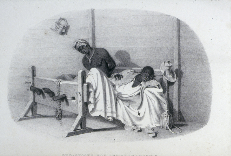 """According to Bridgens, """"the bed stock is generally placed in some of the out-houses belonging to the estate, where the offender may be denied the society and encouragement of his friends or accomplices. . . A tin mask, such as is put on the heads of Negroes addicted to . . . dirt-eating, is seen hanging against the wall."""" A sculptor, furniture designer and architect, Richard Bridgens was born in England in 1785, but in 1826 he moved to Trinidad where his wife had inherited a sugar plantation, St. Clair. Although he occasionally returned to England, he ultimately lived in Trinidad for seven years and died in Port of Spain in 1846. Bridgens' book contains 27 plates, thirteen of which are shown on this website. The plates were based on drawings made from life and were done between 1825, when Bridgens arrived in Trinidad, and 1836, when his book was published. Although his work is undated, the title page of a copy held by the Beinecke Rare Book Room at Yale University has a front cover with a publication date of 1836, the date usually assigned to this work by major libraries whose copies lack a title page. Bridgens' racist perspectives on enslaved Africans and his defense of slavery are discussed in T. Barringer, G. Forrester, and B. Martinez-Ruiz, Art and Emancipation in Jamaica: Isaac Mendes Belisario and his Worlds (Yale University Press, 2007), pp. 460-461. Bridgens' life is discussed extensively along with discussion of his drawings and presentation of many details on slave life in Trinidad in Judy Raymond, The Colour of Shadows: Images of Caribbean Slavery (Coconut Beach, Florida: Caribbean Studies Press, 2016). Raymond's book, which is an essential source for any study of Bridgens, also includes a number of unpublished sketches of Trinidadian slave life. See also Brian Austen, Richard Hicks Bridgens (Oxford Art Online/Grove Art Online)."""
