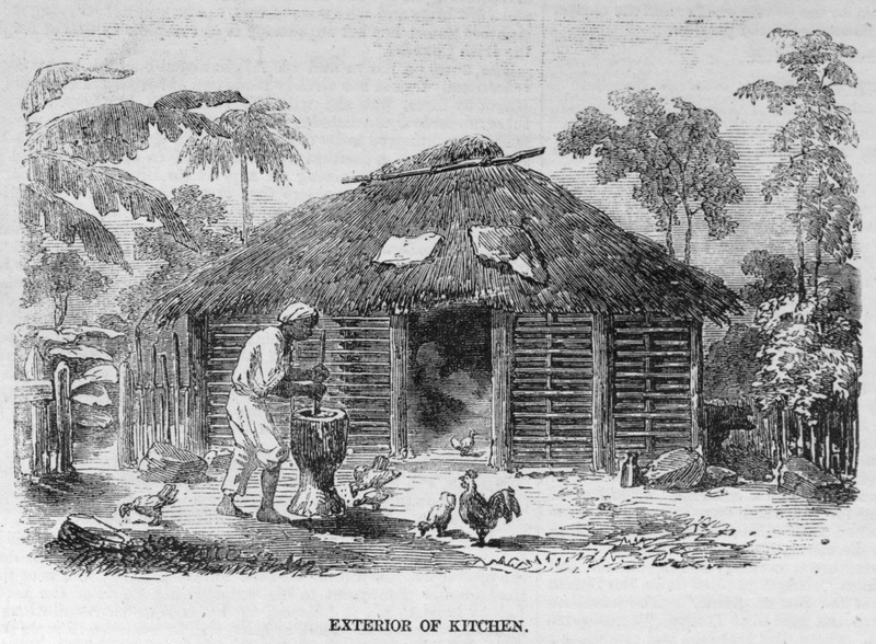 Kitchen is made of wattle-and-daub with a thatched roof; grain being pounded with a wooden pestle and mortar. The scene is near Freetown.See also illustration, Interior of Kitchen, Sierra Leone , image reference ILN435c.