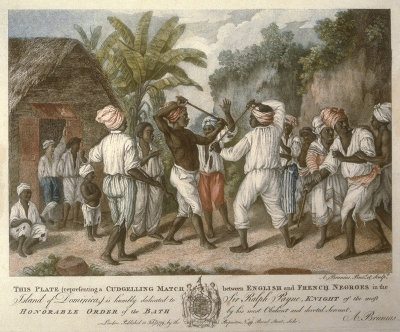Caption begins This plate (representing a cudgelling match between English and French Negroes in the island of Dominica) is humbly dedicated.... Stick fighting was widespread in the West Indies, and called, for example, Stick Licking in Barbados and Jamaica, Kalinda/Kalenda in Trinidad. The scene in this illustration is identical to the illustration negres jouant au baton published in Nicolas Ponce, Recueil des vues des lieux principaux de la colonie Francaise de Saint-Domingue (Paris, 1791), fig. 26; see image NW025-b on this website. Another version of this print was published in London in 1810; a copy is owned by the Barbados Museum.  Agostino Brunias (sometimes incorrectly spelled Brunyas, Brunais), a painter born in Italy in 1730, came to England in 1758 where he became acquainted with William Young. Young had been appointed to a high governmental post in West Indian territories acquired by Britain from France, and in late 1764 Brunias accompanied Young to the Caribbean as his personal artist. Arriving in early 1765, Brunias stayed in the islands until around 1775, when he returned to England (exhibiting some of his paintings in the late 1770s) and visited the continent. He returned to the West Indies in 1784 and remained there until his death on the island of Dominica in 1796. Although Brunias primarily resided in Dominica he also spent time in St. Vincent, and visited other islands, including Barbados, Grenada, St. Kitts, and Tobago. See Lennox Honychurch, Chatoyer's Artist: Agostino Brunias and the Depiction of St Vincent, for what is presently the most informative and balanced discussion of Brunias and his romanticized and idyllic paintings of West Indian scenes and slave life (Jl of the Barbados Museum and Historical Society, vol. 50 [2004], pp.104-128); see also Hans Huth, Agostino Brunias, Romano (The Connoisseur, vol. 51 [Dec. 1962], pp. 265-269).