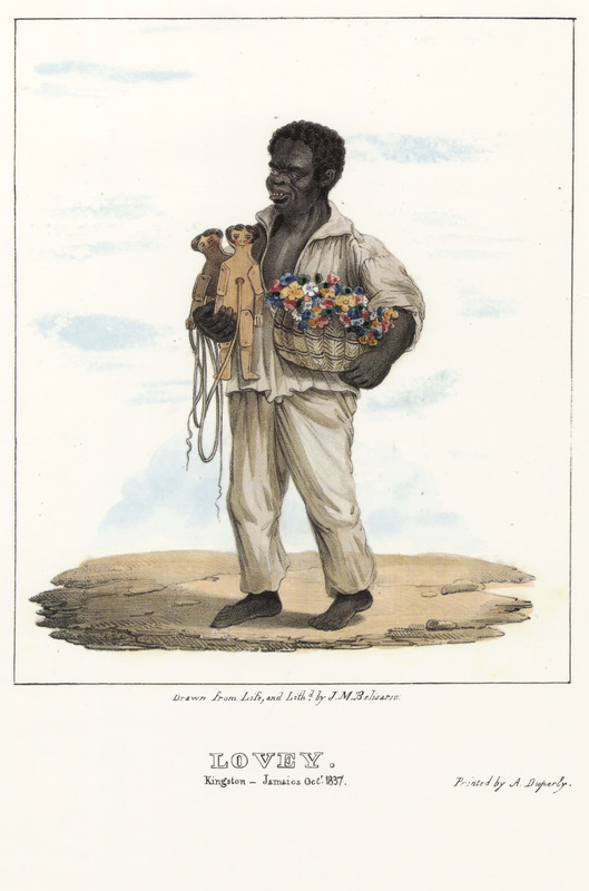 """This lithograph shows a barefoot man carrying two wooden puppets and a basket of flowers. Belisario described how this individual, called Lovey, """"was born in the Congo, where he was called Kangga, but in 1803 he was baptized by a Catholic priest in Jamaica and called Louis; however, for reasons only known to himself, he has. . . for several years assumed the appellation of Lovey."""" Belisario characterized Lovey as """"a shrewd, intelligent, kind-hearted, and industrious fellow. . . [he was a] well-known seller of flowers in the Kingston area for the past 30 years. The flowers are grown in his master's garden and as a way of increasing his own income, Lovey nightly dances two wooden puppets, as he calls Captain and Mrs. Jones, and accepts tips from his audiences; the performances are accompanied with songs of his own composition,"""" a few of which Belisario describes in the written descriptions accompanying his lithographs. Isaac Mendes Belisario (1795–1849) was a Jamaican artist of Jewish descent and active in Kingston Jamaica around British emancipation in 1833. The image shown here, as well as others of """"John-Canoes,"""" was drawn from life by Belisario in 1836. This lithograph is one of twelve originally published in three parts, four plates at a time."""