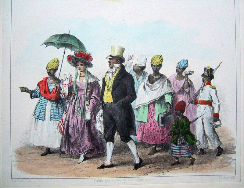 """Some Quality People Taking Themselves to Church"" (caption translation). This engraving shows a white man and woman dressed in fine clothes being followed by several enslaved people. Benoit explained that ""on Sundays and holidays, rich planters and businessmen go to church with their families, and are sometimes followed by five or six slaves"" (p. 23). Pierre Jacques Benoit (1782-1854) was a Belgian artist, who visited the Dutch colony of Suriname on his own initiative for several months in 1831. He stayed in Paramaribo, but visited plantations, maroon communities and indigenous villages inland."