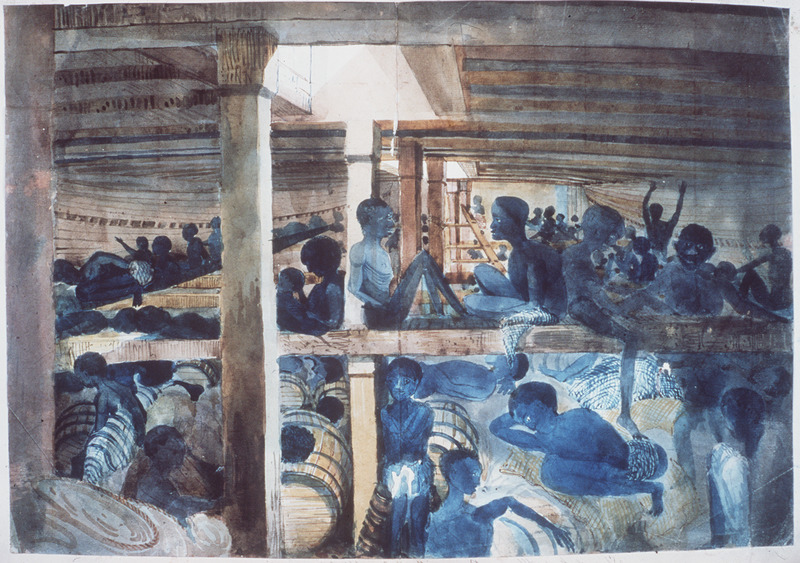 This pencil and watercolor by Lt. Francis Meynell shows Africans liberated by the British Navy. The Albanez (erroneously identified as Albaroz in the National Maritime Museum catalog) was a Brazilian vessel, captured by the Royal Navy ship, Albatross, off the mouth of the Kwanza River in 1845. Meynell was mate on the Albatross, captained at the time by Reginald Yorke. According to the NMM records, the Albatross was commissioned in 1842 and cruised African waters until 1849. See image reference E028 for more details.