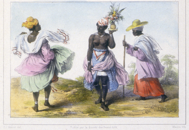 """""""A Young Negro Woman Slave, Carrying a Bouquet for a Party"""" (caption translation).This image shows an elaborately dressed domestic servant on the left and an elderly """"missie"""" or mistress of a white man walking with a cane and wearing a head tie under her straw hat on the right. Pierre Jacques Benoit (1782-1854) was a Belgian artist, who visited the Dutch colony of Suriname on his own initiative for several months in 1831. He stayed in Paramaribo, but visited plantations, maroon communities and indigenous villages inland."""