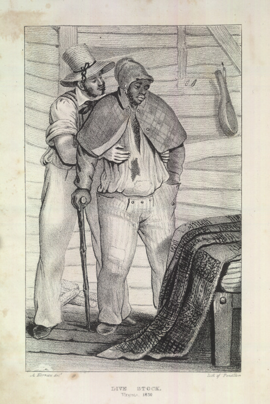 Caption, Live Stock, Virginia, 1830. The author was in the United States from late 1827 to around 1830-31. This illustration is found in her chapter on Virginia and her discussion of slavery in the state, but she does not describe what the illustration is supposed to convey. The scene is the interior of a cabin, a bed in the right-hand corner; a calabash ladle or drinking gourd hangs on the wall. The black man with the cane, and the white man behind him with his hands on the black man's chest. The scene, including the image's caption, is puzzling.